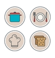 set food and utensils line icons vector image vector image