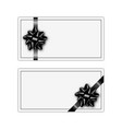 set of holiday gift card with black ribbon and bow vector image vector image