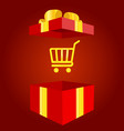 shopping bag with gift box icon present or sale vector image