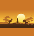 silhouette kangaroo landscape beauty collection vector image vector image