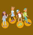 Skateboard characters stylish skating kids vector image