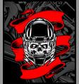 skull wearing a helmet with banner vector image vector image