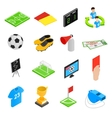 Soccer isometric 3d icons set vector image vector image