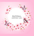 spring nature background with pink flowers and vector image