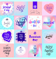 sweetest day logo set simple style vector image vector image