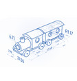 toy train with drawing design elements blueprint vector image vector image