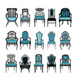 Vintage Chair furniture set collection vector image vector image