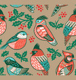 vintage seamless christmas pattern with colored vector image