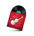 vinyl record - retro lp disc in red paper cover vector image vector image