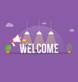 welcome big word text with team people around vector image