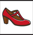 woman shoe on heel in red color isolated on white vector image vector image