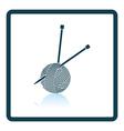Yarn ball with knitting needles icon vector image vector image