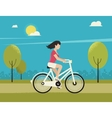 Young woman rides white bicycle vector image vector image