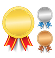 Golden silver and bronze medals vector image