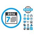 2016 Week Calendar Flat Icon with Bonus vector image vector image