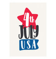 4th july holiday lettering handwritten vector image