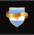 argentina flag golden badge design vector image