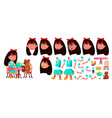 asian girl kindergarten kid animation vector image vector image