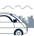 autonomous car over cityscape vector image vector image