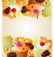 Background with sweet cakes vector image vector image
