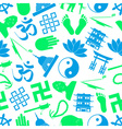 buddhism religions symbols icons seamless pattern vector image