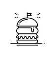 burger line icon hamburger sign and symbol fast vector image