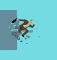 businessman jump breaking wall vector image vector image
