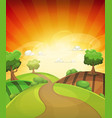 cartoon country background in spring or summer vector image vector image