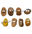 Cartoon funny smiling potatoes vegetables