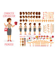 character constructor set for woman promoter in vector image vector image