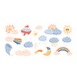 cute weather phenomena - clouds wind rainbow vector image