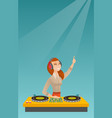 dj mixing music on the turntables vector image vector image