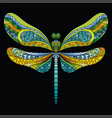 dragonfly coloring book anti-stress vector image