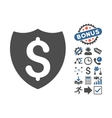 Financial Shield Flat Icon With Bonus vector image vector image