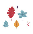 flat set of autumn floral symbols - oak and maple vector image