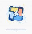 four hands hold together for wrist other vector image vector image