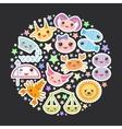 Funny Kawaii zodiac sign astrological stiker set vector image