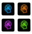 glowing neon human head with with screwdriver and vector image vector image