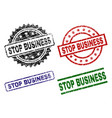 grunge textured stop business seal stamps vector image