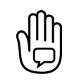 hand open palm speaking bubble talk logo vector image vector image