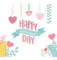 happy valentines day lettering hang hearts love vector image vector image