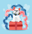 happy valentines day with cute french bulldog and vector image