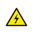 high voltage bright triangle yellow warning sign vector image vector image
