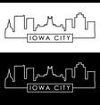 iowa city skyline linear style editable file vector image vector image
