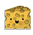kawaii cheese slice in watercolor silhouette on vector image vector image