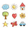 landscape doodle drawing set icons vector image
