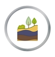 Layers of the earth icon in cartoon style isolated vector image