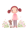 Little girl with her teddy bear vector image vector image