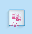 logo of world health day 7 april minimalistic vector image