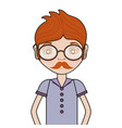 man with mustache and casual clothes vector image vector image